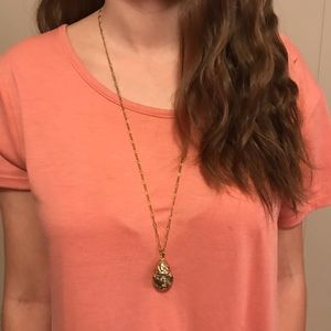 Jewelry - 3/$25 💜 Gold Necklace with Rustic Round Stone